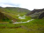 Hiking in a valley with geothermal rivers (before taking a dip)