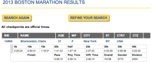 Boston Marathon 2013 splits & placement