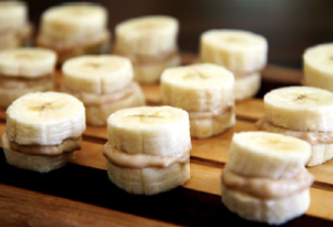 Frozen banana & peanut butter sandwiches