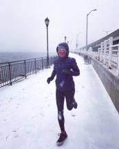Running in the snow at 30 weeks